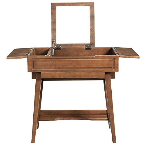 Buy Bargain VASAGLE Vanity Table with Flip Top Mirror, Solid Wood Makeup Dressing Table Desk,6 Organ...