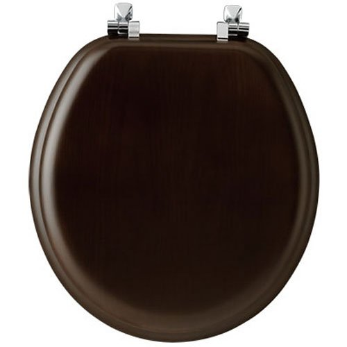 Bemis Wood Bowl (Mayfair Natural Reflections Veneer Toilet Seat with Chrome Hinges, Round, Walnut, 9601CP 888)