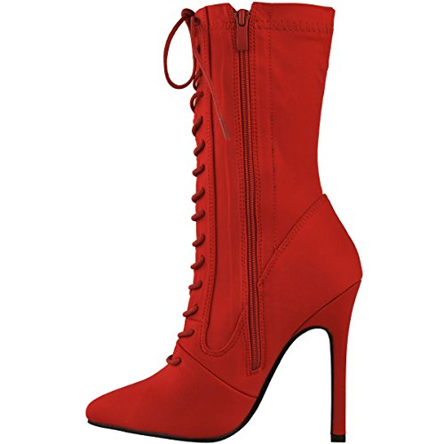 Fashion Thirsty Womens Lace Up High Heel Stiletto Lycra Ankle Boots Size Red Lycra 7UQbC57y