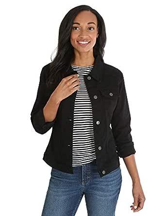 Riders by Lee Indigo Womens ZFRC8 Denim Jacket Long Sleeve Jeans - Black - Small