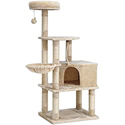SONGMICS Cat Tree Condo Tower with Scratching Posts Kitten Furniture Play House Beige UPCT60M