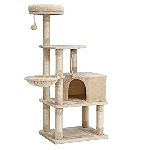 FEANDREA Cat Tree with Scratching Board, Basket Lounger and Large Cave UPCT60M 77
