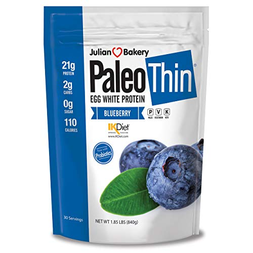 Paleo Thin Protein Powder (Blueberry Tart) (30 Servings) 2 lbs Monk Fruit Sweetened (Egg White) (Egg White Powder Vs Egg White Liquid)