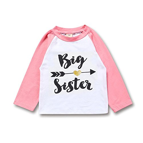 Kingte Toddler Girls Big Sister T Shirt Matching Little Brother Baby Bodysuits White (4T, Pink Long Shirt) (Big Sister Toddler T-shirt)