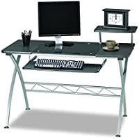 Mayline 972ANT SOHO Vision Computer Desk with Glass Inset Desktop, Anthracite Tf/Metallic Gray Frame