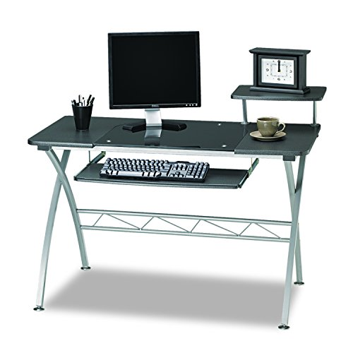 Mayline 972ANT SOHO Vision Computer Desk with Glass Inset Desktop, Anthracite Tf/Metallic Gray Frame (Glass Shelf Soho)