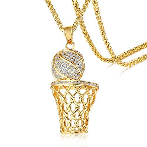 - Kalapure Hip Hop Jewelry 18K Gold Basketball Rim Pendant Stainless Steel Luxury Diamond Cubic Zirconia Sport Necklace for 2019 FIBA Basketball World Cup