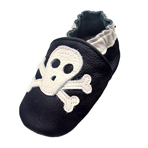 - iEvolve Baby Shoes Baby Toddler Soft Sole Prewalker First Walker Crib Shoes Baby Moccasins (18-24 Months, Black Skull)