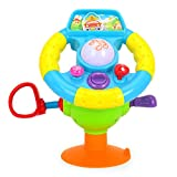 Electric Driving Steering Wheel Kids Car Seat Toys W/ Music Light Mirror Various Driving Sounds Suction Cup