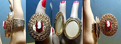 1 HUGE Brass Etrustian Locket RING, W/ Hardstone Cameo on Huge Tibetan Etched Silver Ring Size 9.5 Adjustable Mesures 1 3/4