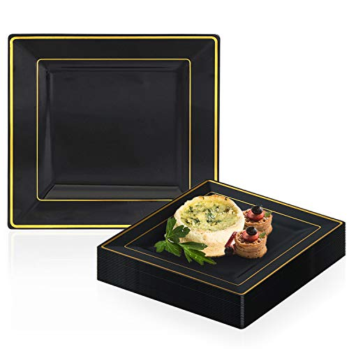 Elegant Disposable Plastic Dessert Plate Set - 120 Heavy Duty Fancy Square Salad Plates - Reusable Black with Gold Rim Cake Party Plate For Wedding, Christmas, Thanksgiving, Birthday & Other - Square Dessert Black Plates