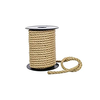 KALYON Premium 6MM 1/4'' 3 Strand Twisted Natural Jute Rope On 50 feet Plastic Reel, Hemp Rope, for Crafting, Decoration, Hobby.