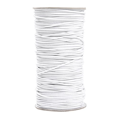 100 Yards 2 mm Elastic Cord Stretch String Elastic Beading Cord Craft Thread for Jewelry Making (White) ()