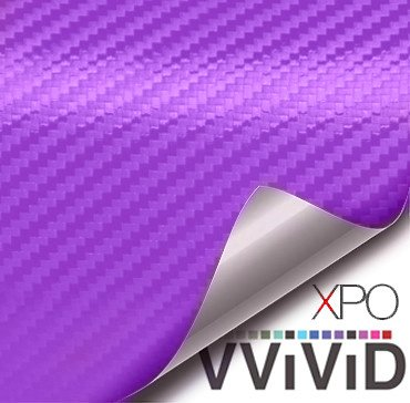 VViViD Purple 3D Carbon Fiber Vinyl Wrap Roll with Air Release Technology (1ft x 5ft)