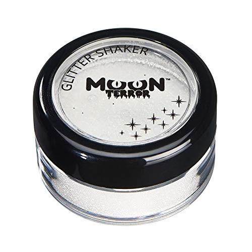 Moon Terror - Halloween Glitter Shaker makeup for the Face & Body - 0.17oz - Add sparkles to your horror looks! Perfect for vampire, ghost, skeleton, witch, pumpkin, monster etc - Wicked White