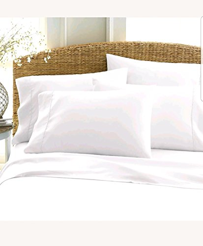 BED SHEET COTTON WHITE LUXURY 6 PC QUEEN SHEET SET EXTRA SOF
