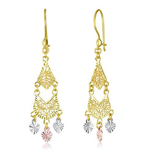 Wellingsale Ladies 14k Tri 3 Color Gold Diamond Cut Polished Fancy Chandelier Dangle Hanging Drop Earrings (11 X 38mm)