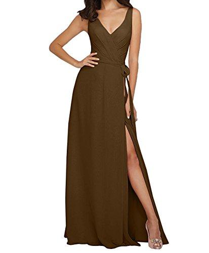 para Topkleider mujer trapecio Vestido marrón zZwq0wx