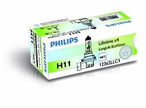 Philips 12362LLECOC1 LongLife EcoVision - Bombilla H11 para faros delanteros
