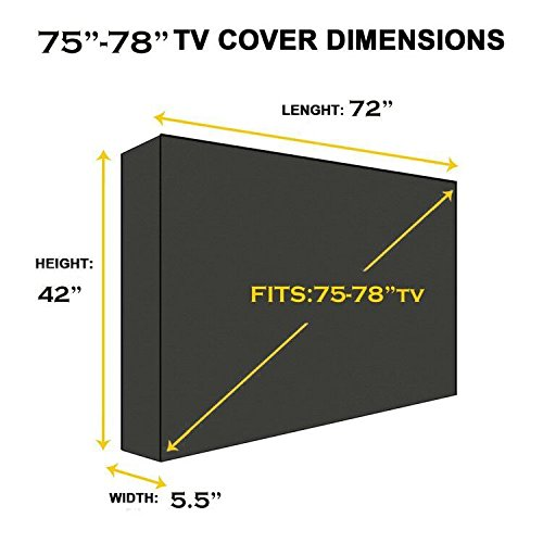 Outdoor 72'' TV Cover, Black Weatherproof Universal Protector for 75''-78'' LCD, LED, Plasma Television Sets - Compatible with Standard Mounts and Stands. Built in Remote Controller Storage Pocket by BBQ Coverpro (Image #3)