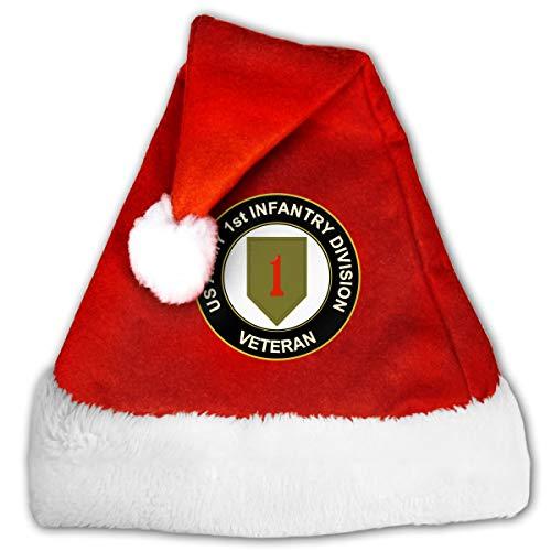 US Army Veteran 1st Infantry Division Christmas Santa Hat for Adult & Children