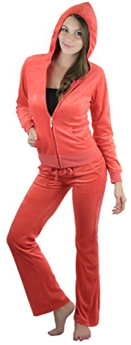 tobeinstyle-womens-velour-tracksuit-jacket-and-matching-pants-coral-m