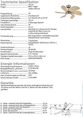 Westinghouse Turbo Swirl Ventilador de Techo E14, 60 W, Titanio ...