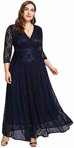 0f4b8341b59 ESPRLIA Women s Plus Size High Waist Lace Overlay Evening Maxi Dress