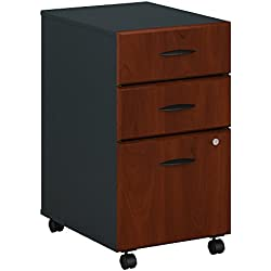 Bush Business Furniture Series A 3 Drawer Mobile File Cabinet in Hansen Cherry and Galaxy