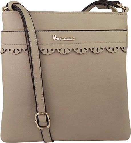 B BRENTANO Vegan Medium Crossbody Handbag Purse (Beige(N)) by B BRENTANO