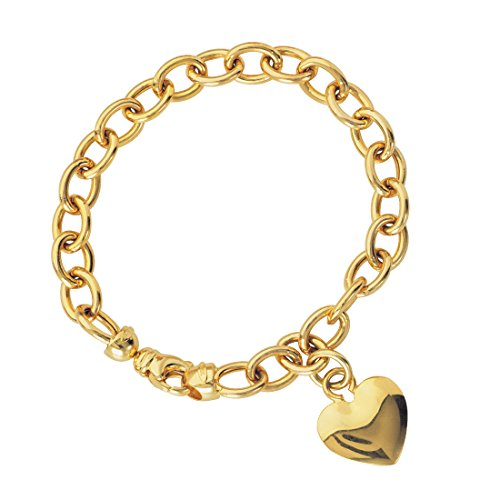 14k Charm Oval Bracelet (14k Yellow Gold Heart Charm Bracelet with Oval Rolo Chain)