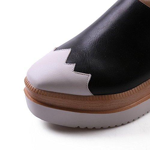 AllhqFashion Mujer Tacón alto Cremallera Cuña PU Puntera Redonda ZapatosdeTacón Negro