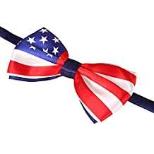 HDE Classic Pre Tied Polyester Bowtie - USA Flag