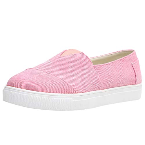 Womens Canvas Flat Loafers Slip-On Driving Shoes Comfort Cushioned Insole Athletic Running Tennis Sneakers (US:5.5, Pink)