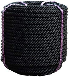 ZHWNGXO Aerial Work Seil, Fest Seil 16mm Schwarz Lager 1236 Kg Polyester Seil Lichtbeständig High Strength for Outdoor-10m, 20m, 50m, 100m (Size : 10m)