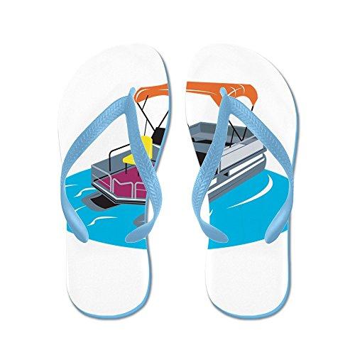 CafePress Pontoon Boat Retro - Flip Flops, Funny Thong Sandals, Beach Sandals Caribbean Blue