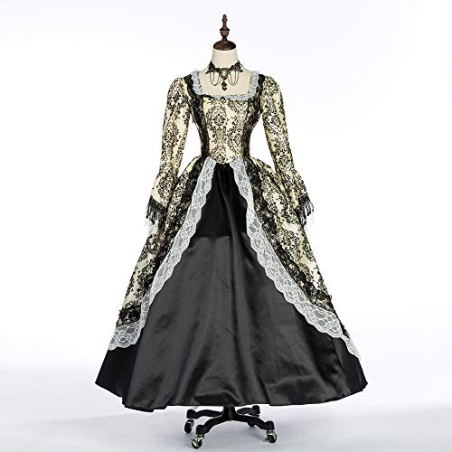 Suky Women's Victorian Rococo Dress Inspiration Maiden Costume Masquerade Ball Gowns (s, Beiges)