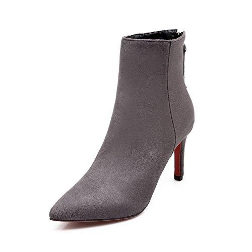 BalaMasa Ladies Dance-Ballroom Wheeled Heel Shoes Mule Frosted Boots Gray