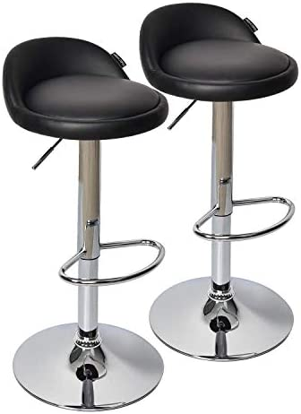 Fullwatt 2 PCS PU Leather Adjustable Barstools Chairs Adjustable Swivel Bar Stools Kitchen Counter Top Black
