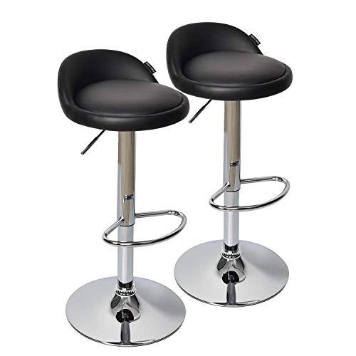 (FULLWATT 2 PCS PU Leather Adjustable Barstools Chairs Adjustable Swivel Bar Stools Kitchen Counter Top (Black) )