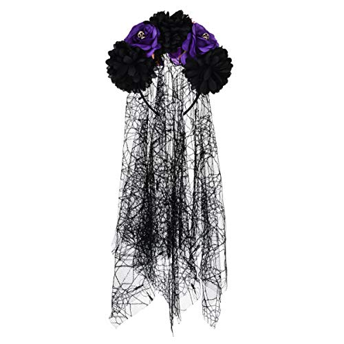 DreamLily Day of The Dead Headpiece Red Rose Skull Flower Crown Costume NC24 (Veil Black Purple)]()