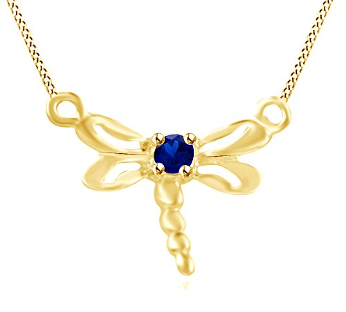 Wishrocks Simulated Blue Sapphire Dragonfly Pendant Necklace 14K Yellow Gold Over Sterling Silver