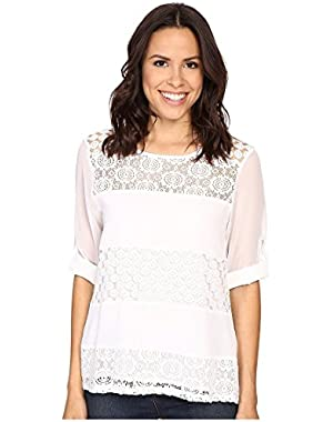 Women's Mixed Lace Roll Sleeve