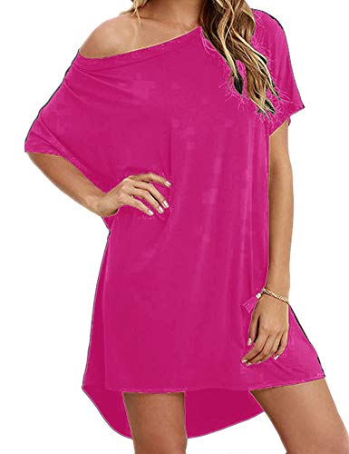 Hioinieiy Women's Short Sleeve T Shirt Dress Soft Nightgown Loose Top Plus Size Cover Up for Casual Summer Hot Pink 2X