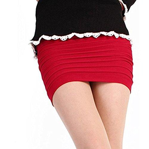 Hanche Retro A Moulante Jupe Femme Rouge Taille Courte Mini Jupe Haute Package Jupe FuweiEncore Line aqfOw