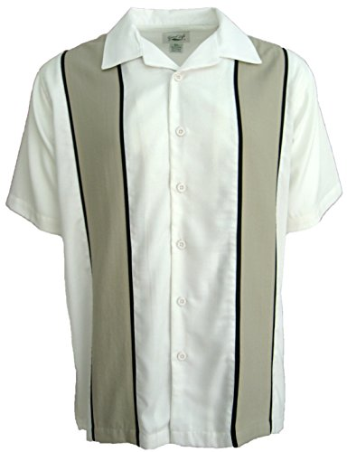 - Good Life Mens Relaxed Fit Retro Bowling Shirt Wrinkle Resistant (Ivory, Large)