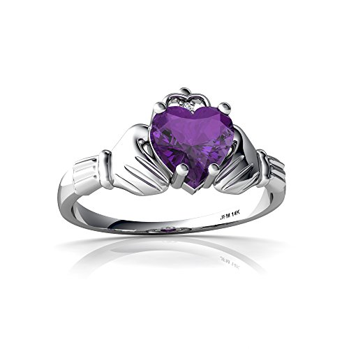 14kt White Gold Amethyst and Diamond 6mm Heart Claddagh Ring - Size 7 (Claddagh 14kt Ring)