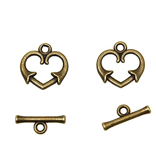 Monrocco 100Pcs Antique Bronze Heart Shape Bracelet Toggle Clasps for Jewelry Making Bracelets - Heart Shape Toggle Clasp