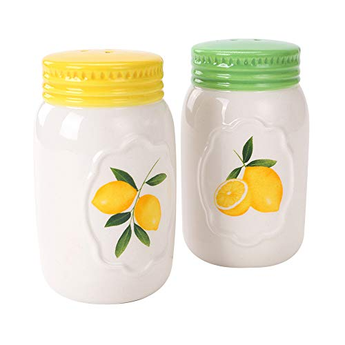 (White Ceramic Novelty COSYME Salt and Pepper Shakers Set of 2 for Vintage Pioneer Woman Popcorn Farmhouse Camping)