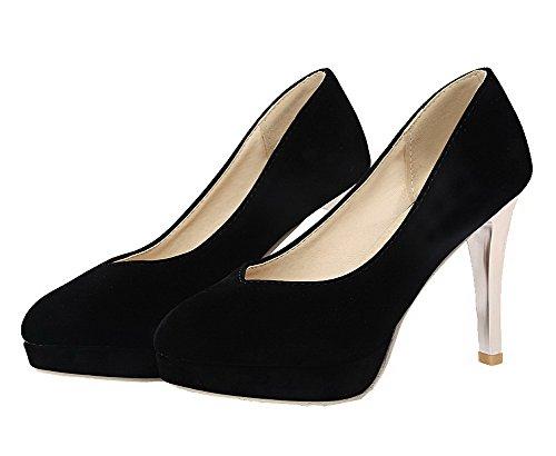 alti Solide Delle Punta Talloni Chiusa shoes Pompe Amoonyfashion Nero Smerigliato Rotonda Donne 8wtqCw